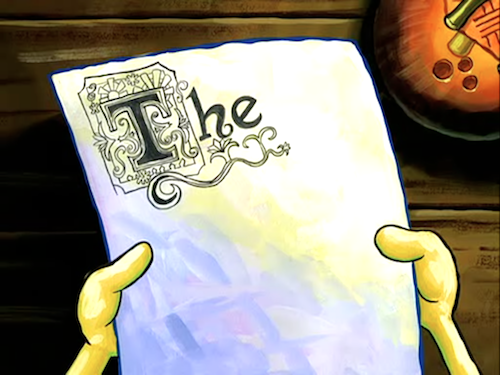 """The"" in fancy script text on an otherwise blank page, from SpongeBob Squarepants."